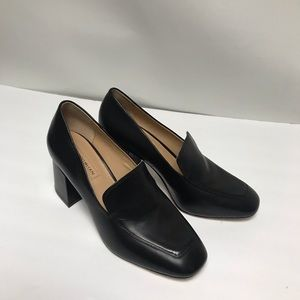 Antonio Melani, black block heel loafers